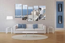 Ocean Decor For Living Room 5 Piece Ocean Home Decor White Multi Panel Canvas