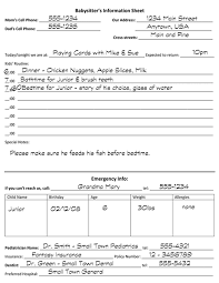 Babysitter Information Sheets Babysitter Information Sheet