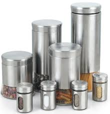 stainless steel 8 piece canister and e jar set
