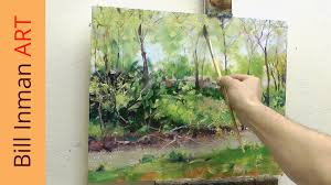 paint a river and spring trees art class oil painting demo
