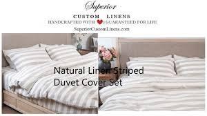 natural linen ticking striped duvet cover set