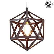 for crealite industrial 1 light large brown wrought iron metal pendant lights metal pendant lamp