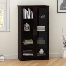Glass Door Cabinet Heirloom Storage Cabinet With 4 Shelves Multiple Finishes