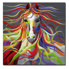 large canvas art wall picture oil paintings colourful horse wild animal 75x75 cm