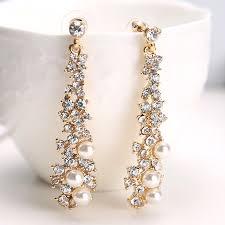 long crystal drop earrings diamante bridal pearl rhinestone gold dangle party uk