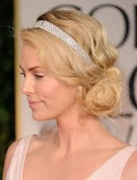 Charlize Theron Short Hair Style theron short blonde updo hair with headband 2017 2567 by wearticles.com