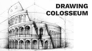 Architectural drawings of famous buildings Free Hand Colosseum Perspective Drawing 3 Famous Architecture Youtube Colosseum Perspective Drawing 3 Famous Architecture Youtube