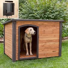 Precision Outback Log Cabin Dog House with Heater | Hayneedle