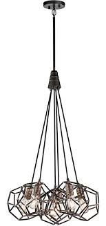 kichler rocklyn 6 light pendant cer vintage industrial style raw steel