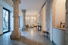 Unusual Stone Pillars Of The Renovated Combining House Design Image
