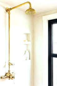 gold shower head post vintage wall mount simple fixtures brass with hose gold shower head