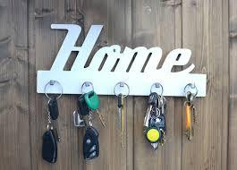 wall key holder white wood leash hanger
