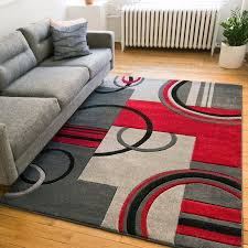 impressive well woven ru modern galaxy waves greyred area rug reviews within grey and red area rugs ordinary