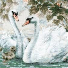 Riolis Cross Stitch White Swans
