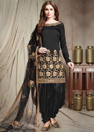 Handmade Punjabi Suit Design Black Mirror Work Punjabi Salwar Suit