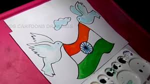 How To Draw Happy Independence Day Flag And Pigeon Drawing
