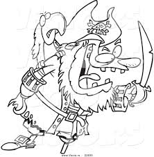 Printable Coloring Pages pirate coloring pages free : Vector of a Cartoon Tough Pirate and Bird - Coloring Page Outline ...