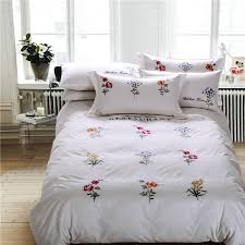 100 cotton white grey color embroidery bedding set king queen size oriental bed set duvet cover bedsheet linen pillowcases twin comforter sets king