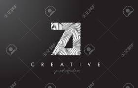 Ziz私は手紙をゼブラ線テクスチャ デザイン ベクトル イラストとロゴ