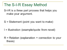 illustration example essay essay paper examples illustration  the s i r essay method s i r is a three part process that helps you make your argument