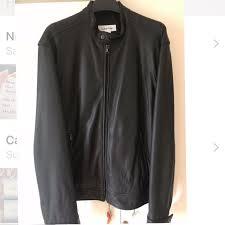 original calvin klein leather moto jacket large men s fashion