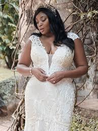 Keenan Lynette Lace Cap-sleeve Plus Size Sheath Wedding Dress ...