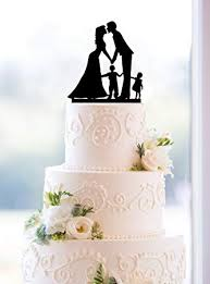 Amazoncom Wedding Anniversary Cake Topper Couple With 2 Kids Boy