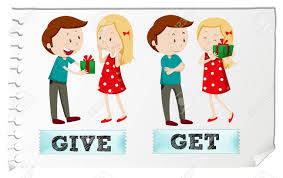 Verb Action Action Verbs Give And Get Illustration