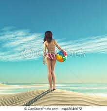 Beach ball in sand Summer Girl With Beach Ball Csp48646672 Templates For Powerpoint Crystalgraphics Girl With Beach Ball On The Sand Dunes This Is 3d Render