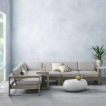 portside outdoor 4piece sectional weathered gray west elm outdoor furniture o33 elm