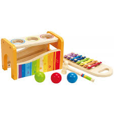 hape pound tap bench with slide out xylophone wooden toys 12 months and