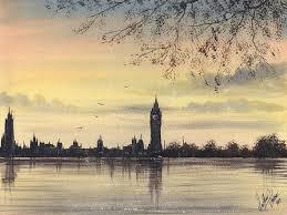 paint london skyline in watercolours westminster