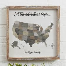 barnboard map personalized wood framed