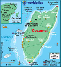 cozumel maps including outline and topographical maps worldatlas com Map Of Usa And Cancun Mexico map of cozumel map of us and cancun mexico