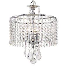 3 light polished chrome mini chandelier with k9 hanging crystals