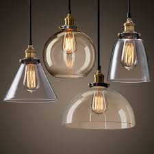 new modern vintage industrial retro loft glass ceiling lamp shade pendant light five styles for kitchen