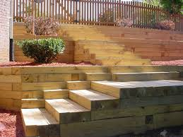 wood retaining wall ideas landscape