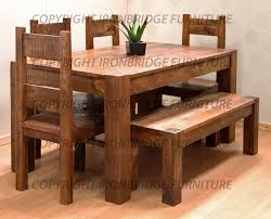 Kitchen Tables With Benches Farmhouse Kitchen Tables Rustic Also Dining Room With Benches And