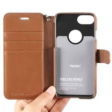 tucch iphone 7 pu leather wallet phone case wrist strap magnetic closure