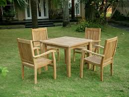 small wooden garden table and chairs