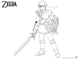 Legend Of Zelda Coloring Pages Link With Sword And Shield Free
