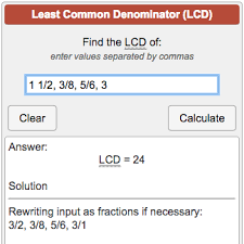 Lcd Calculator Least Common Denominator