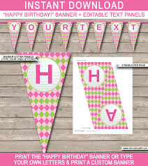 happy birthday pink and green girls golf birthday banner template birthday banner editable bunting