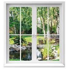 Premiumdesign Wandtattoo Fenster Ausblick In Garten In Originalgröße