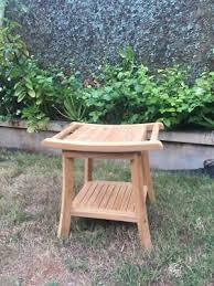 outdoor teak wood shower seat bench with shelf wooden bathroom stool spa chair