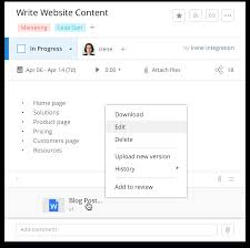 Wrike Online Document Editing