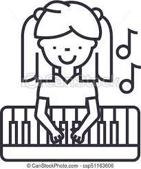 ベクトル 女の子 ストローク Editable イラスト 印 背景 アイコン 線 ピアノを弾く