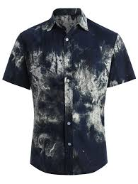 Patterned Button Up Shirts Simple 48 Ethnic Leaves Printed Button Up Shirt BLUE L In Shirts Online