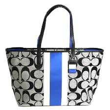 Coach 10054 Grey Large Expandable Beach Tote in Black, Blue White. 12345