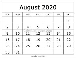 August Calendar 2020 Printable Template Blank Calendar